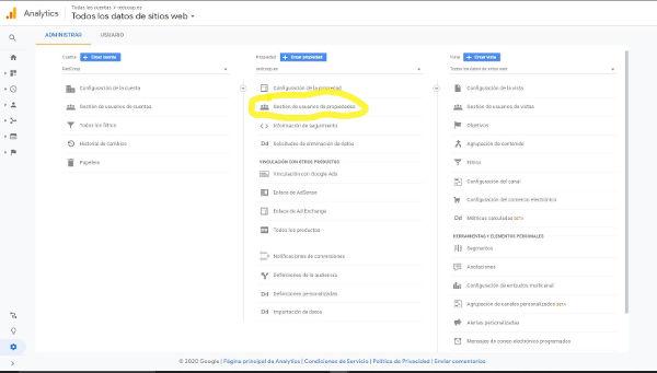 Administración de Google Analytics