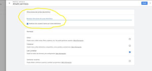Añadir permisos a Google Analytics
