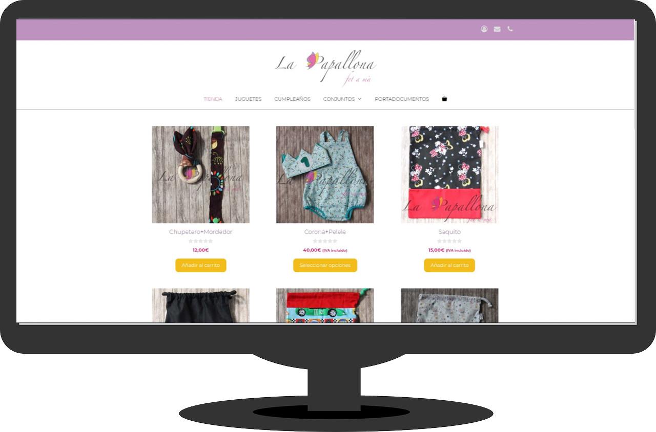 Captura pantalla tienda online la papllona
